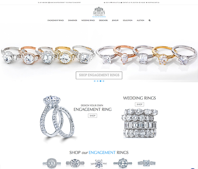 Arthurs Jewelers Ecommerce Web Design
