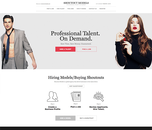 ShoutOut Models Ecommerce Web Design